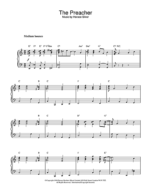 Horace Silver The Preacher sheet music notes and chords