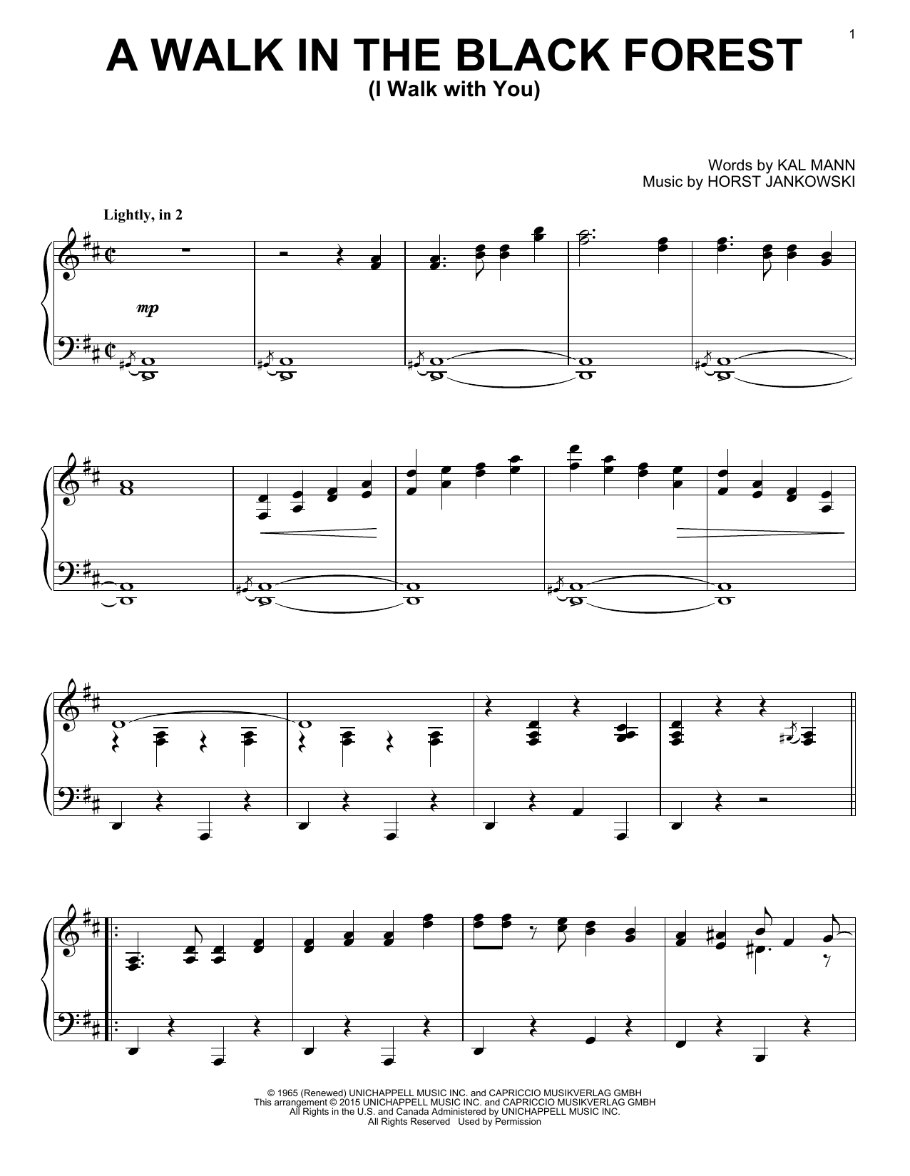 Download Horst Jankowski 'A Walk In The Black Forest (I Walk With You)' Digital Sheet Music Notes & Chords and start playing in minutes