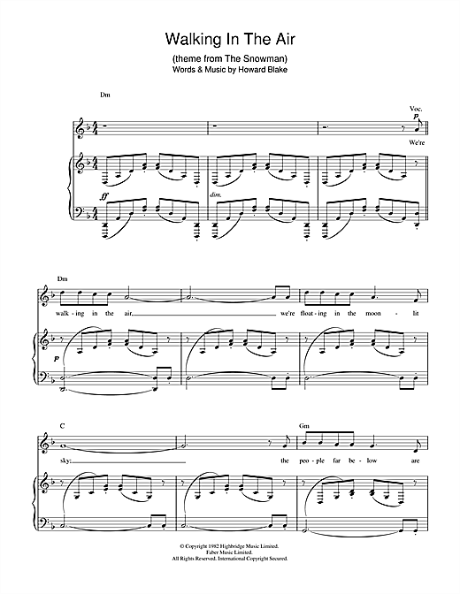 Download Howard Blake 'Walking In The Air (theme from The Snowman)' Digital Sheet Music Notes & Chords and start playing in minutes