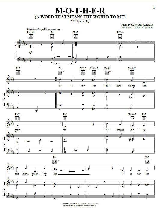 Howard Johnson M-O-T-H-E-R (A Word That Means The World To Me) sheet music notes and chords