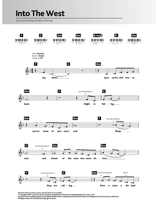 Download Howard Shore 'Into The West (from The Lord Of The Rings: The Return Of The King)' Digital Sheet Music Notes & Chords and start playing in minutes