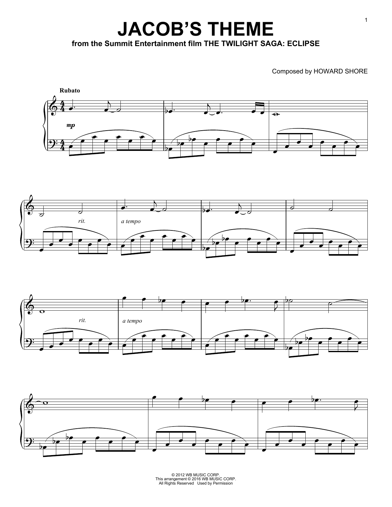 Howard Shore Jacob's Theme sheet music preview music notes and score for Piano (Big Notes) including 4 page(s)
