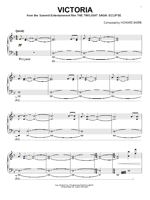 Download Howard Shore 'Victoria' Digital Sheet Music Notes & Chords and start playing in minutes