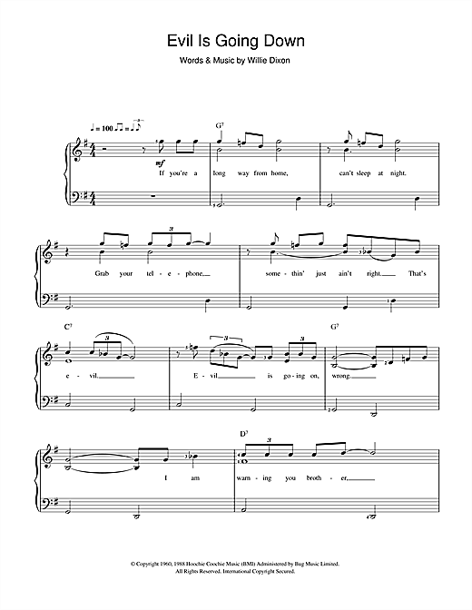Howlin' Wolf Evil (Is Going On) sheet music preview music notes and score for Piano & Vocal including 2 page(s)