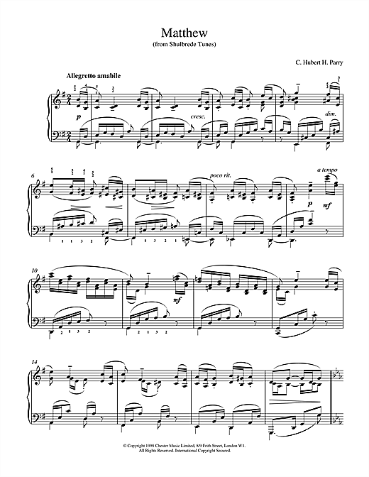 Hubert Parry Matthew From Shulbrede Tunes sheet music notes and chords