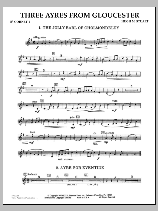 Hugh M. Stuart Three Ayres From Gloucester - Bb Cornet 1 sheet music preview music notes and score for Concert Band including 2 page(s)