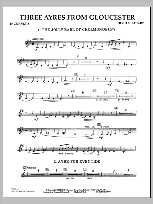 Hugh M. Stuart Three Ayres From Gloucester - Bb Cornet 3 sheet music preview music notes and score for Concert Band including 2 page(s)