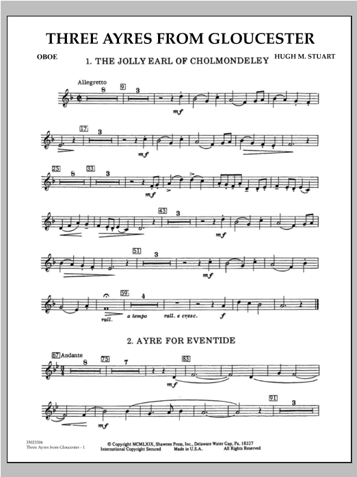 Hugh M. Stuart Three Ayres From Gloucester - Oboe sheet music preview music notes and score for Concert Band including 2 page(s)