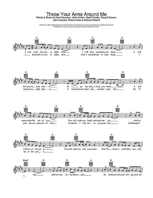 Hunters & Collectors Throw Your Arms Around Me sheet music preview music notes and score for Melody Line, Lyrics & Chords including 2 page(s)