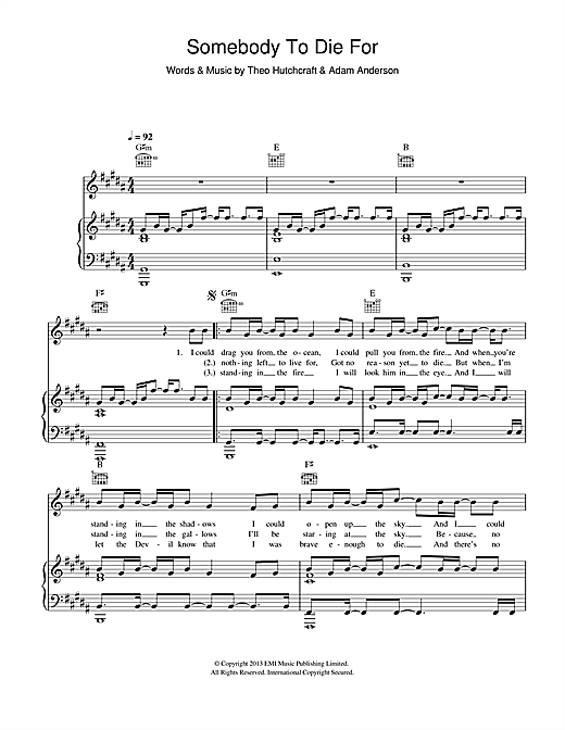 Hurts Somebody To Die For sheet music notes and chords