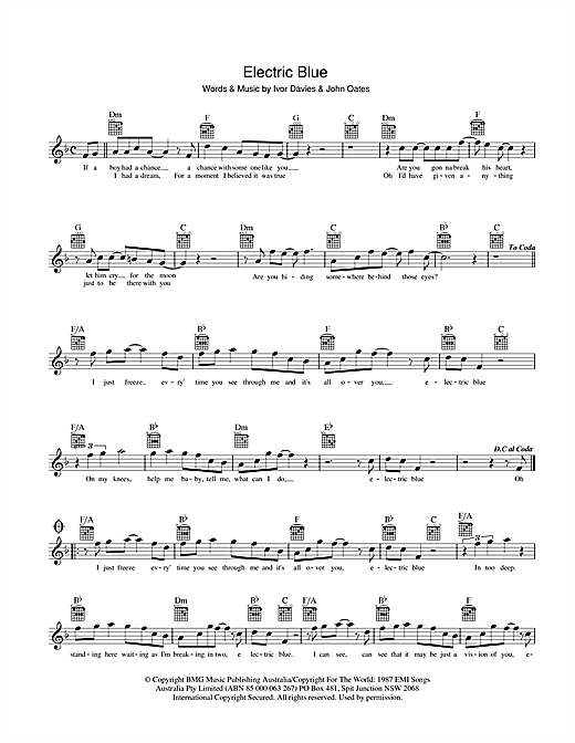 Icehouse Electric Blue sheet music preview music notes and score for Melody Line, Lyrics & Chords including 2 page(s)