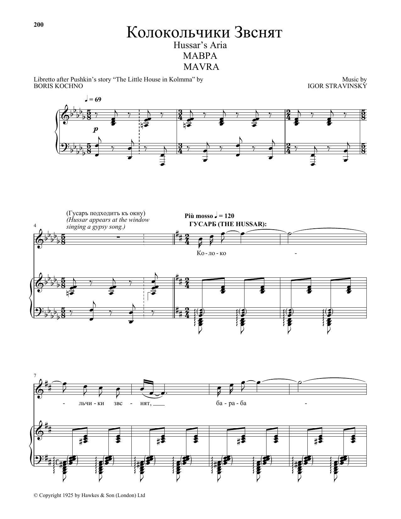Igor Stravinsky Hussar's Aria sheet music preview music notes and score for Piano & Vocal including 3 page(s)