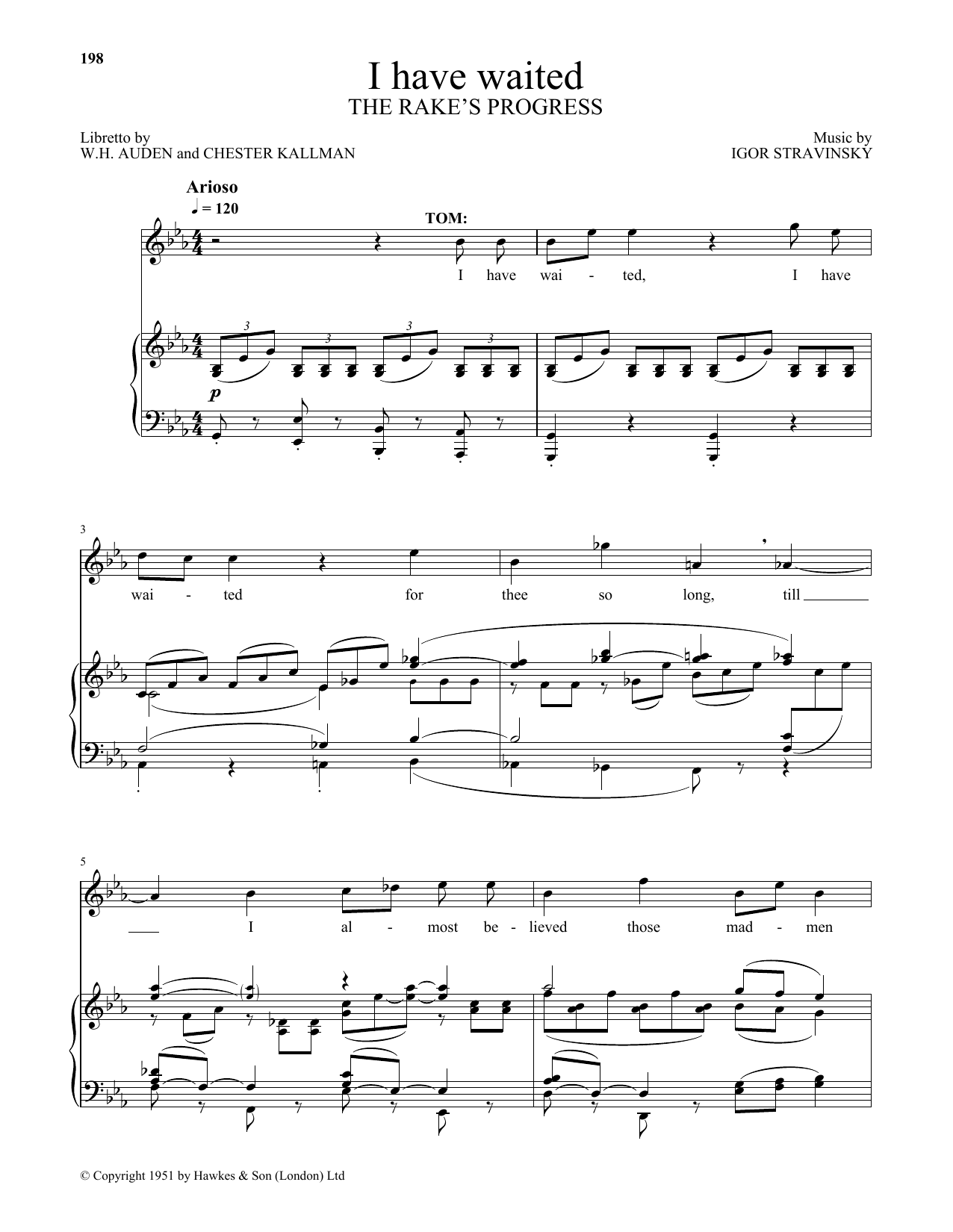 Igor Stravinsky I Have Waited sheet music preview music notes and score for Piano & Vocal including 2 page(s)