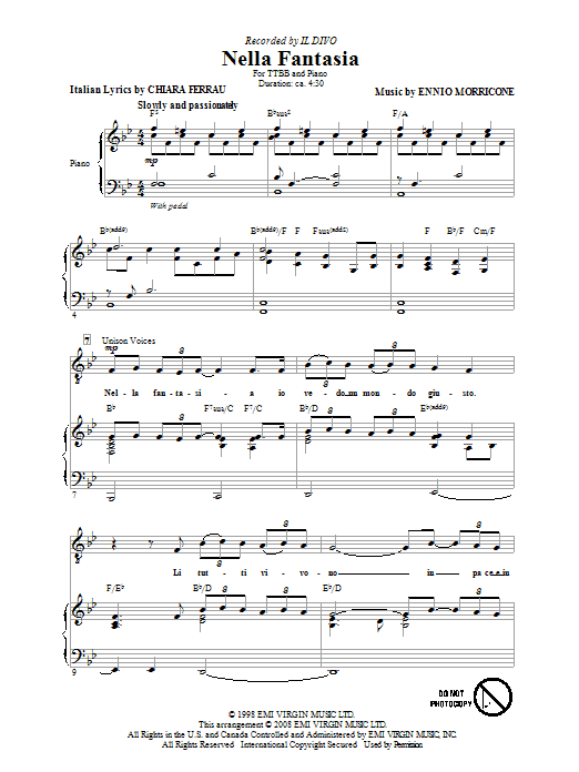 Il Divo Nella Fantasia (In My Fantasy) sheet music preview music notes and score for TTBB including 7 page(s)