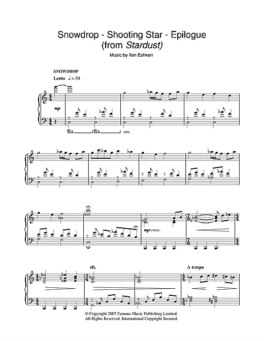 Download Ilan Eshkeri 'Snowdrop/Shooting Star/Epilogue (from Stardust)' Digital Sheet Music Notes & Chords and start playing in minutes