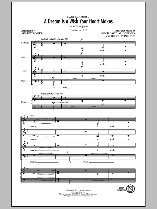 Ilene Woods A Dream Is A Wish Your Heart Makes sheet music preview music notes and score for E-Z Play Today including 2 page(s)