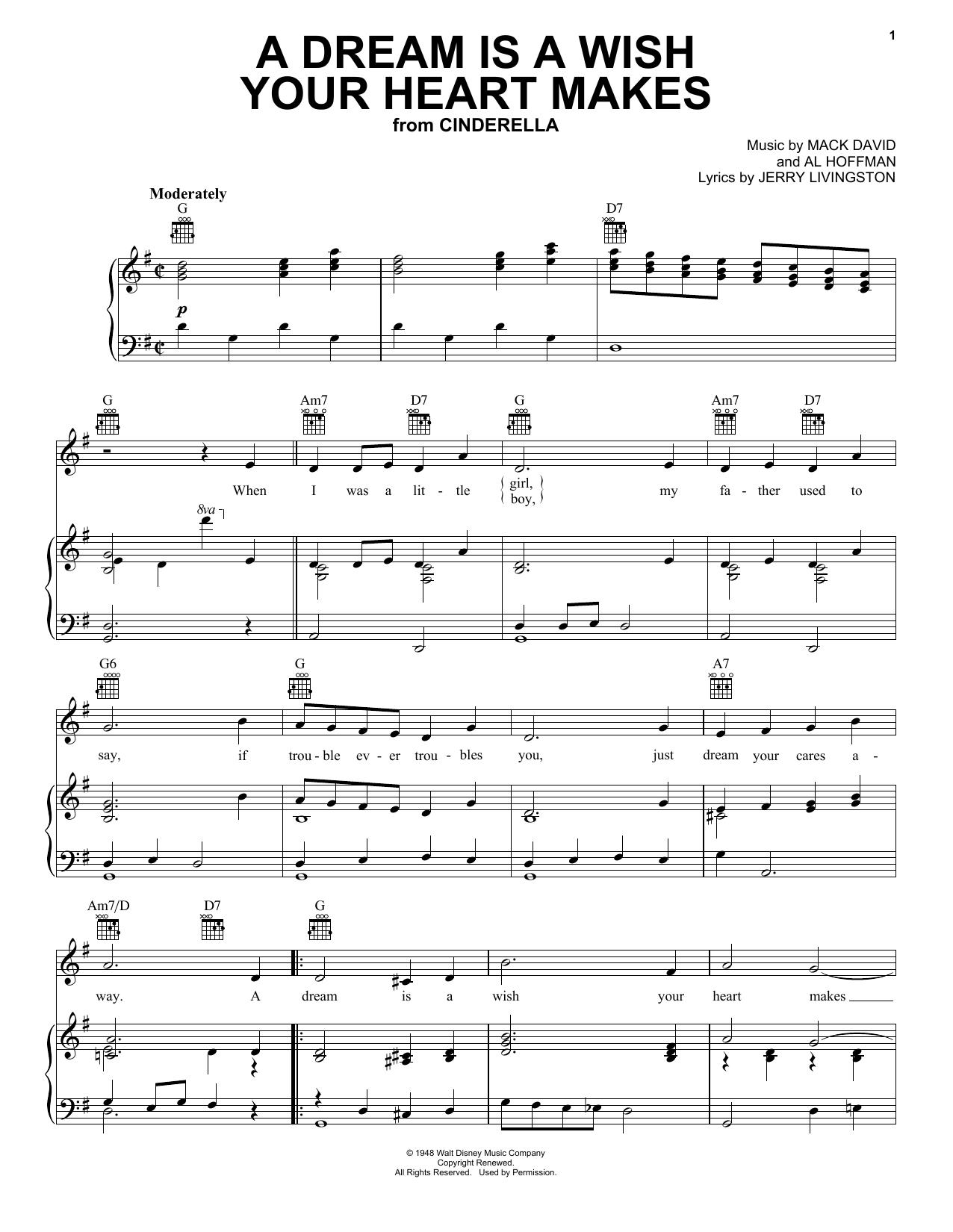 Ilene Woods A Dream Is A Wish Your Heart Makes sheet music preview music notes and score for Accordion including 3 page(s)