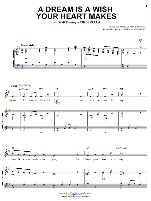 Ilene Woods A Dream Is A Wish Your Heart Makes sheet music preview music notes and score for Piano, Vocal & Guitar (Right-Hand Melody) including 3 page(s)