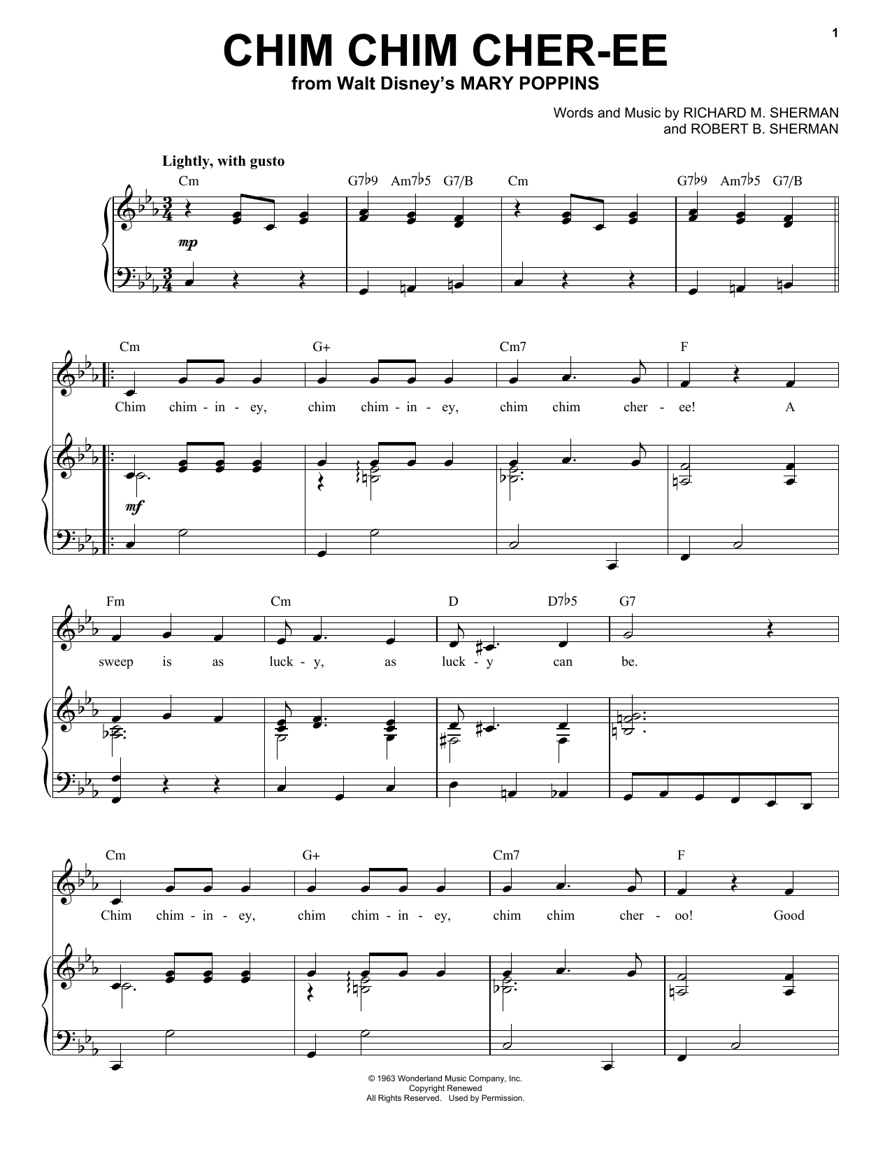 Ilene Woods Chim Chim Cher-ee sheet music preview music notes and score for Piano, Vocal & Guitar (Right-Hand Melody) including 4 page(s)