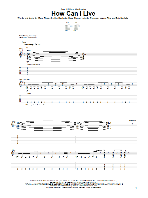 Ill Nino How Can I Live sheet music preview music notes and score for Guitar Tab including 9 page(s)