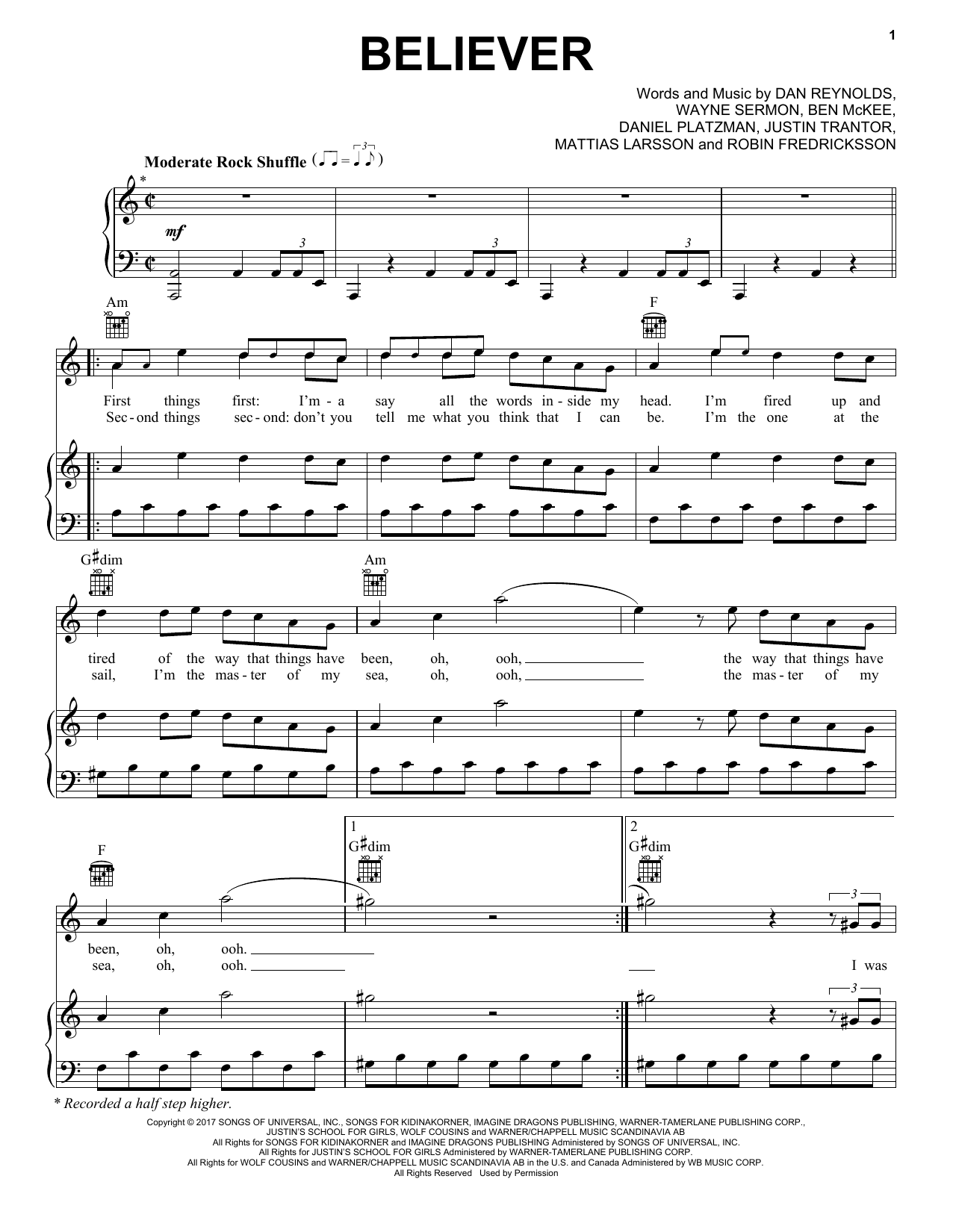 Download Imagine Dragons 'Believer' Digital Sheet Music Notes & Chords and start playing in minutes