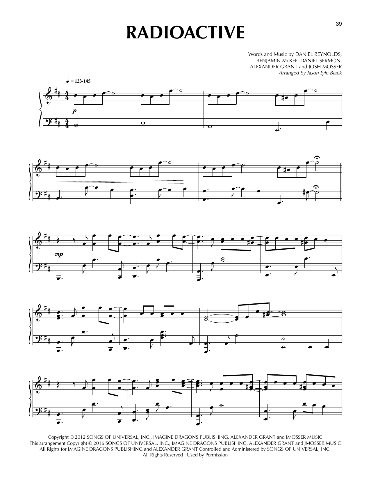 Download Jason Lyle Black 'Radioactive' Digital Sheet Music Notes & Chords and start playing in minutes
