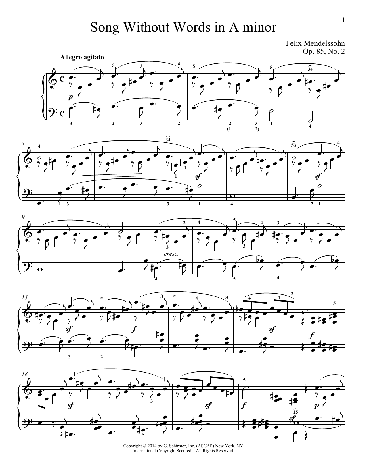 Download Felix Mendelssohn 'Song Without Words In A Minor, Op. 85, No. 2' Digital Sheet Music Notes & Chords and start playing in minutes