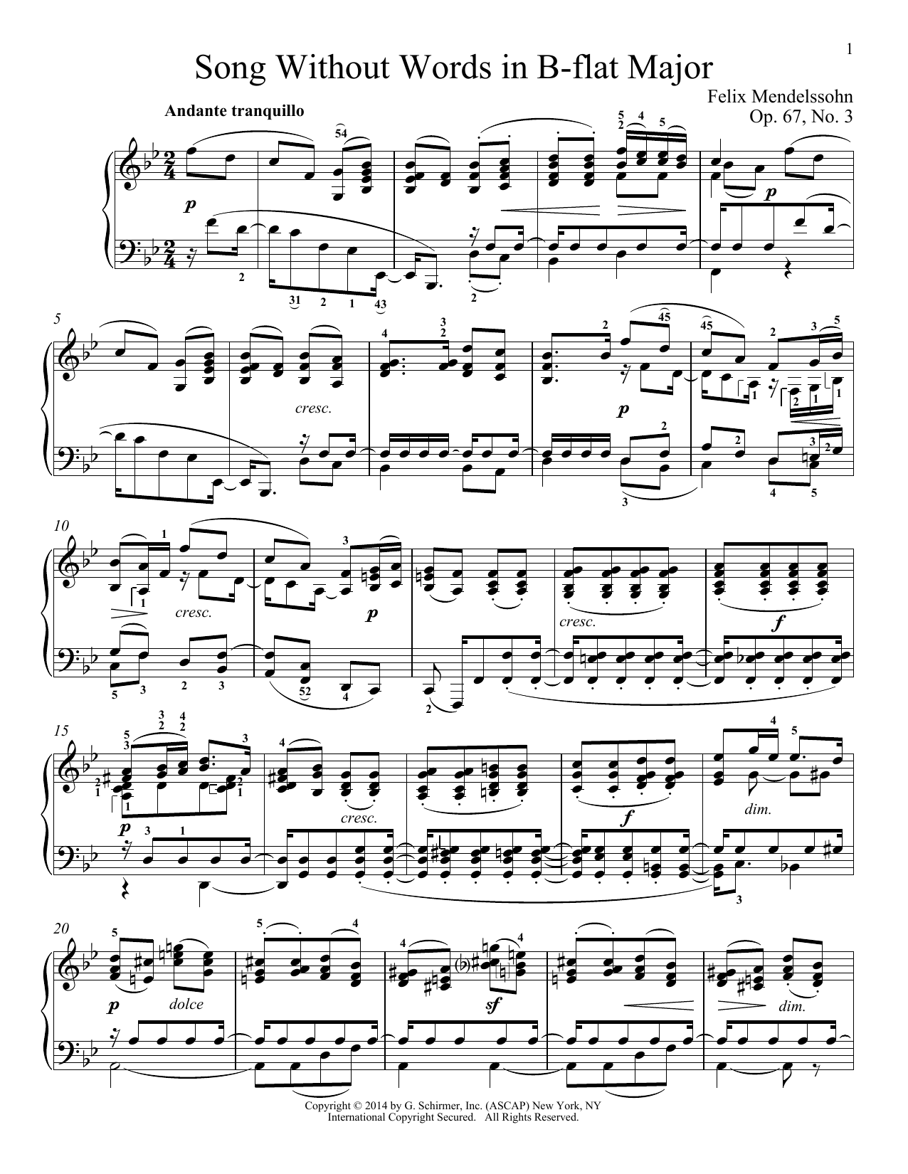 Download Felix Mendelssohn 'Song Without Words In B-Flat Major, Op. 67, No. 3' Digital Sheet Music Notes & Chords and start playing in minutes