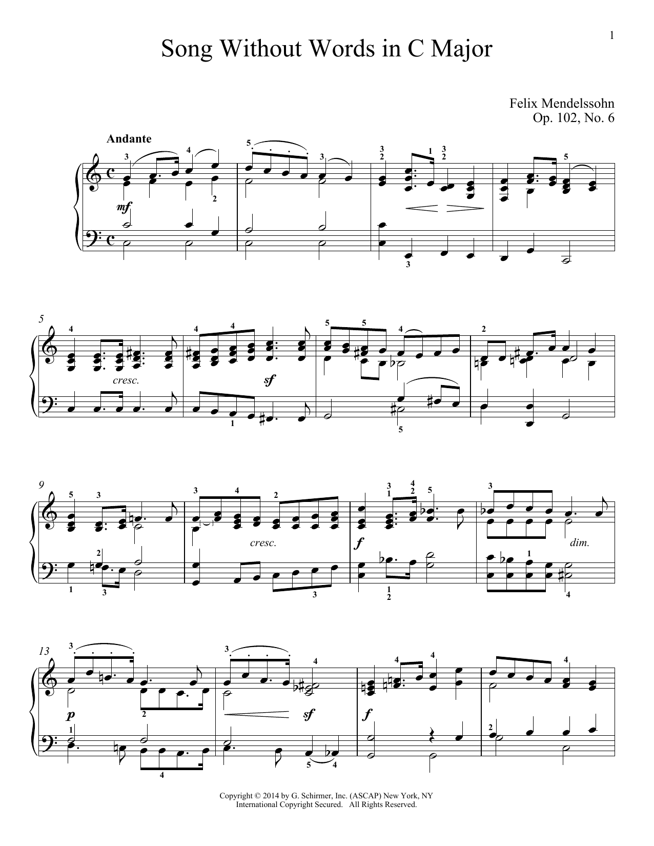 Download Felix Mendelssohn 'Song Without Words In C Major, Op. 102, No. 6' Digital Sheet Music Notes & Chords and start playing in minutes