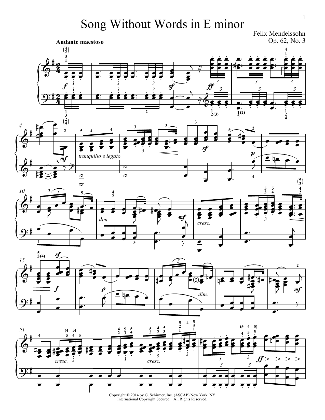 Download Felix Mendelssohn 'Song Without Words In E Minor, Op. 52, No. 3' Digital Sheet Music Notes & Chords and start playing in minutes