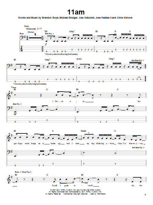 Incubus 11am sheet music notes and chords