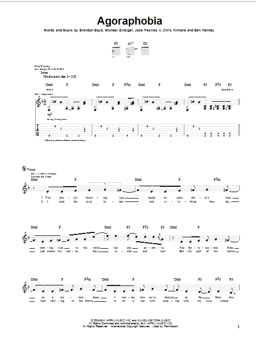 Incubus Agoraphobia sheet music preview music notes and score for Guitar Tab including 8 page(s)