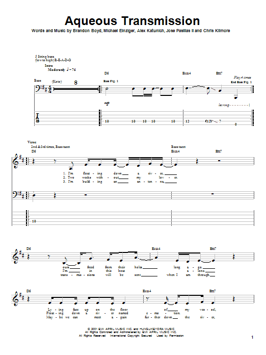 Incubus Aqueous Transmission sheet music notes and chords