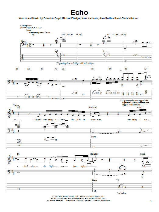 Incubus Echo sheet music notes and chords