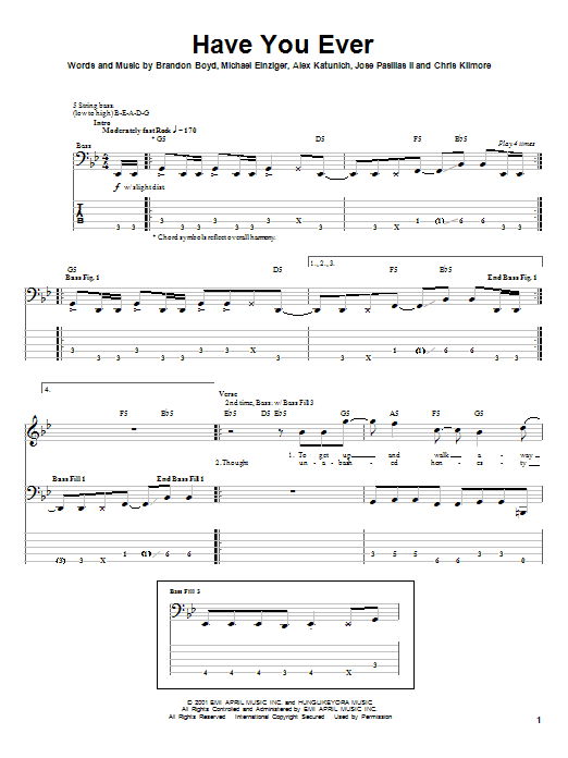 Incubus Have You Ever sheet music notes and chords
