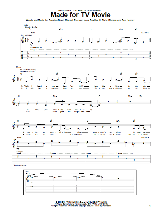 Incubus Made For TV Movie sheet music preview music notes and score for Guitar Tab including 5 page(s)