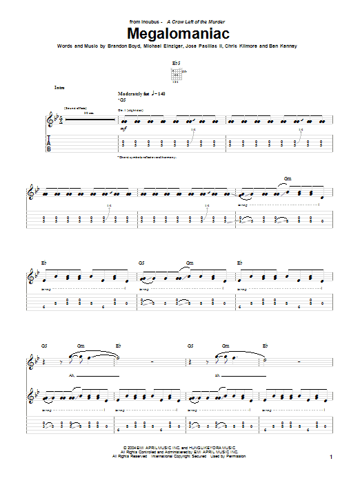 Incubus Megalomaniac sheet music preview music notes and score for Guitar Tab including 9 page(s)