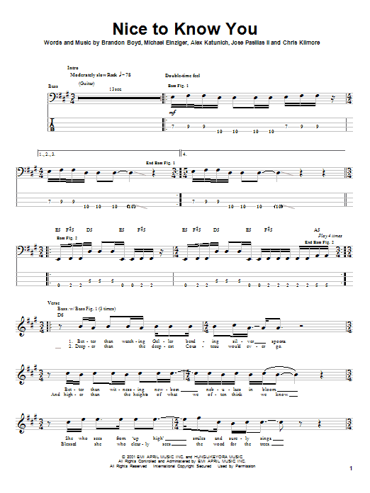 Incubus Nice To Know You sheet music notes and chords