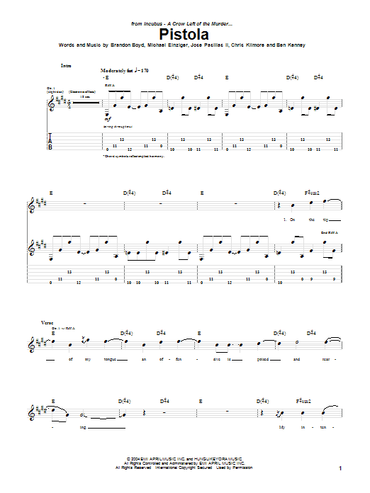 Incubus Pistola sheet music preview music notes and score for Guitar Tab including 10 page(s)