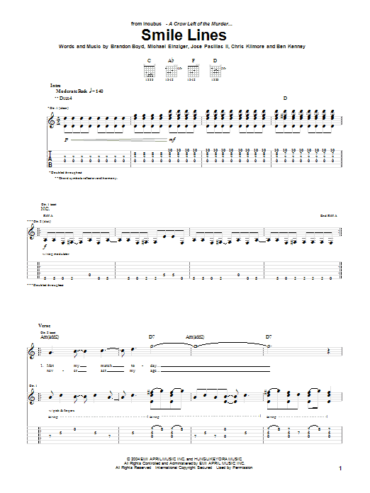 Incubus Smile Lines sheet music preview music notes and score for Guitar Tab including 7 page(s)