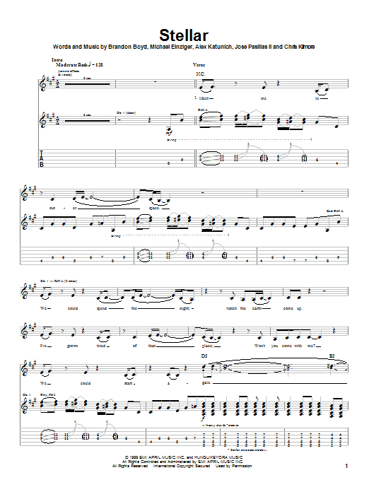 Incubus Stellar sheet music notes and chords