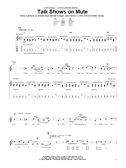 Incubus Talk Shows On Mute sheet music preview music notes and score for Guitar Tab including 7 page(s)