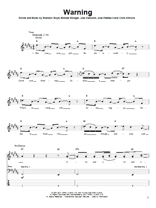 Incubus Warning sheet music notes and chords
