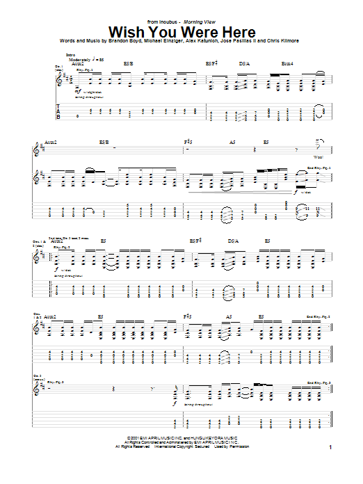 Incubus Wish You Were Here sheet music notes and chords