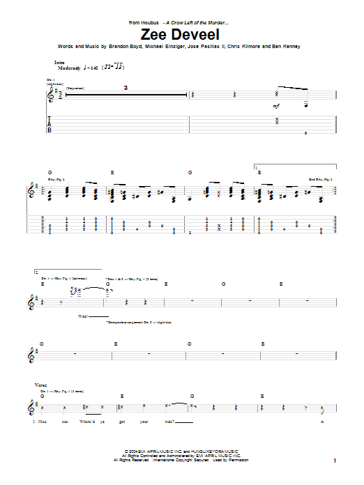 Incubus Zee Deveel sheet music preview music notes and score for Guitar Tab including 8 page(s)