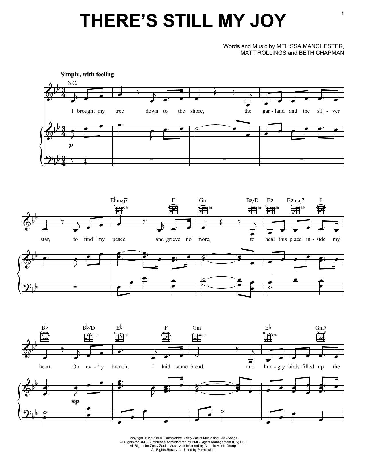 Indigo Girls There's Still My Joy sheet music preview music notes and score for E-Z Play Today including 3 page(s)