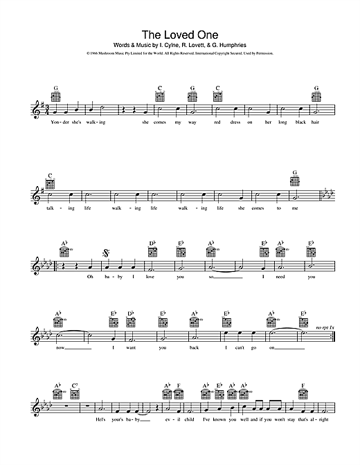 INXS The Loved One sheet music preview music notes and score for Melody Line, Lyrics & Chords including 2 page(s)