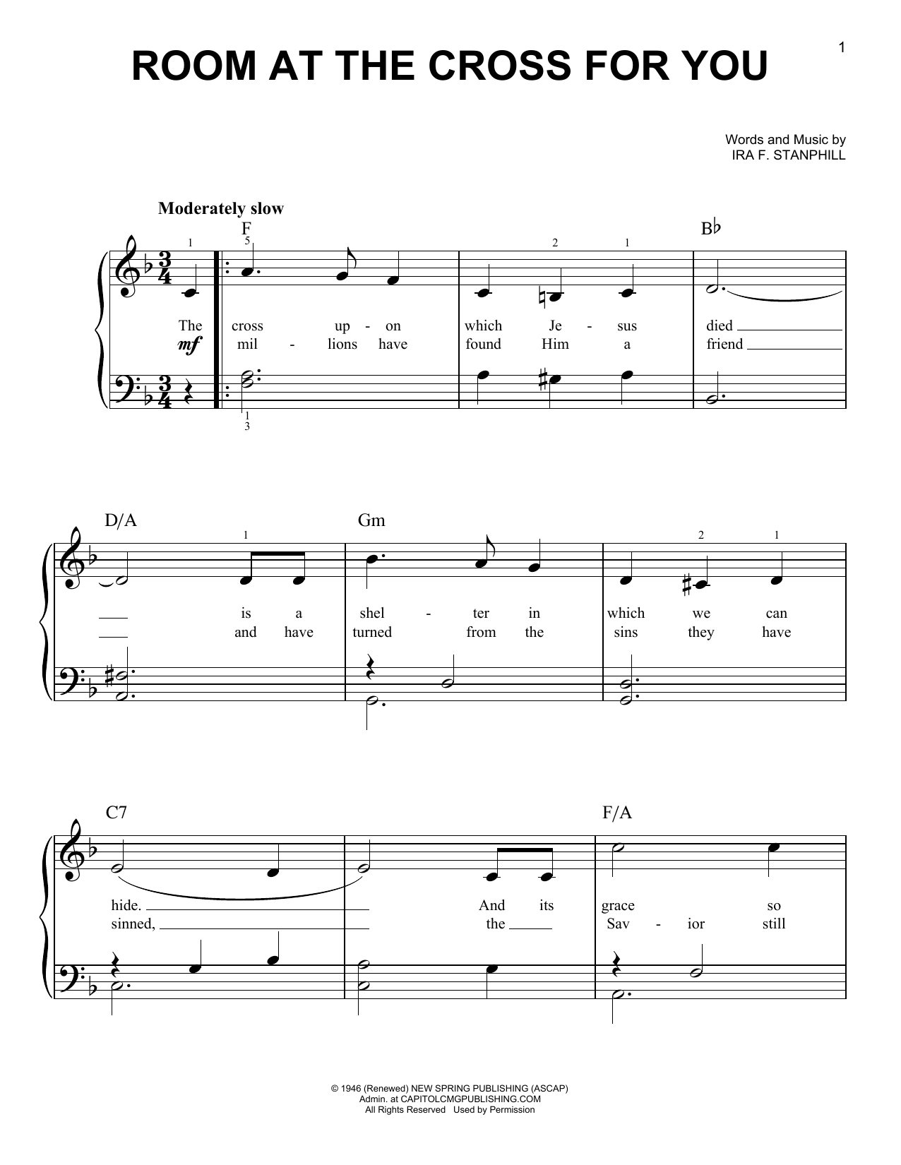 Ira F. Stanphill Room At The Cross For You sheet music preview music notes and score for Super Easy Piano including 2 page(s)