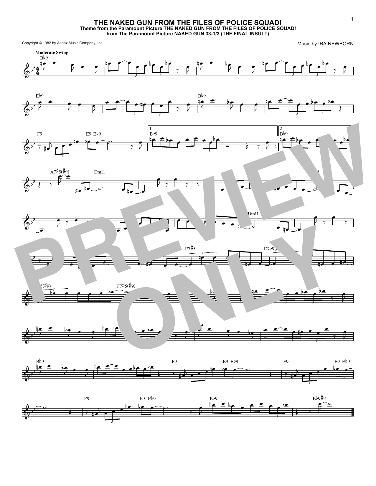 Download Ira Newborn 'The Naked Gun From The Files Of Police Squad!' Digital Sheet Music Notes & Chords and start playing in minutes