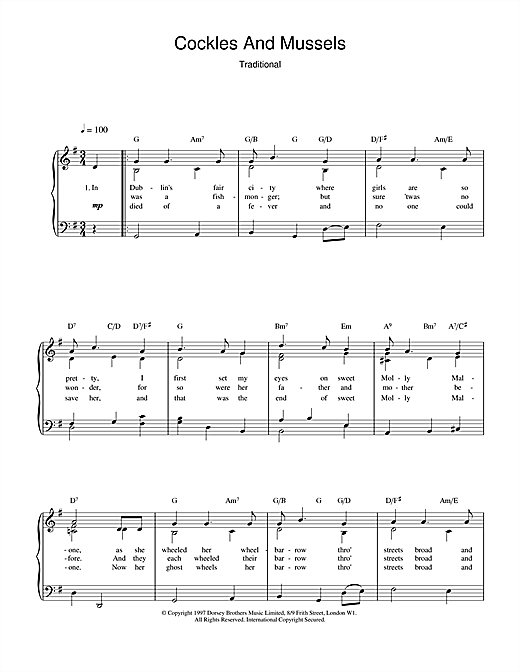 Irish Folk Song Cockles And Mussels sheet music notes and chords